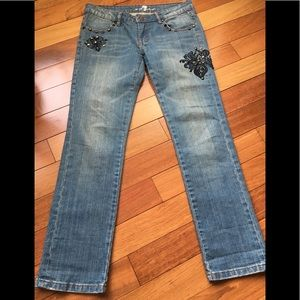 7 For All Mankind Embroidered Skinny Blue Jeans